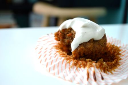 Carrot Cake Cupcake with Coconut Cream Frosting Gluten Free and Paleo glutenfreeskinny.net